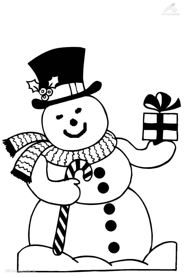 1001 MALVORLAGEN : Weihnachten >> Schneemann >> Malvorlage Schneemann