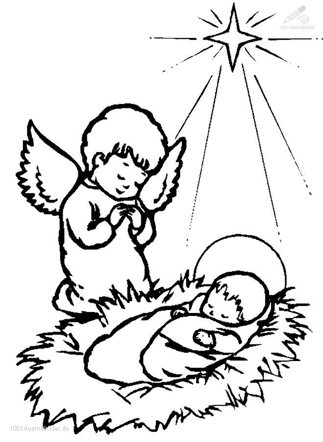 Malvorlage Jesus und engel