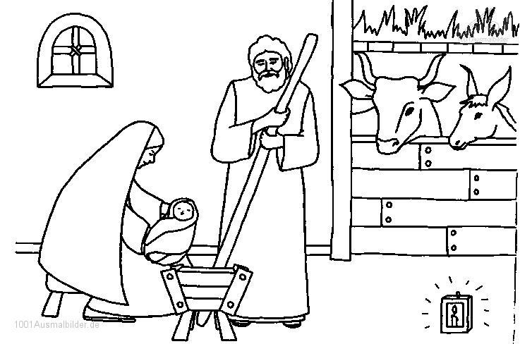 Malvorlage Jesus Maria und Josef