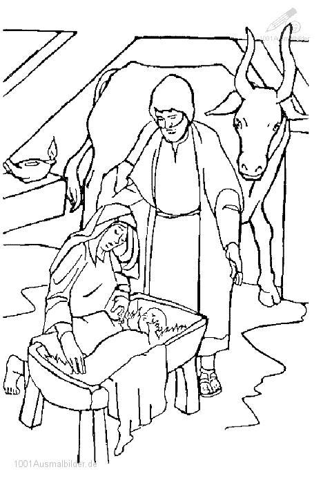 Malvorlage Jesus Maria und Joseph