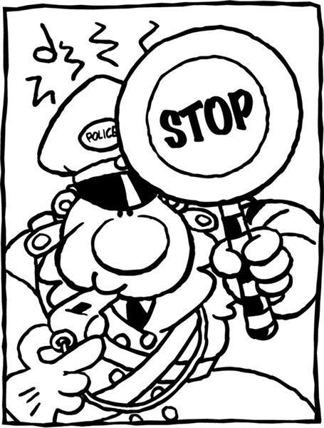 Malvorlage Stop Polizei