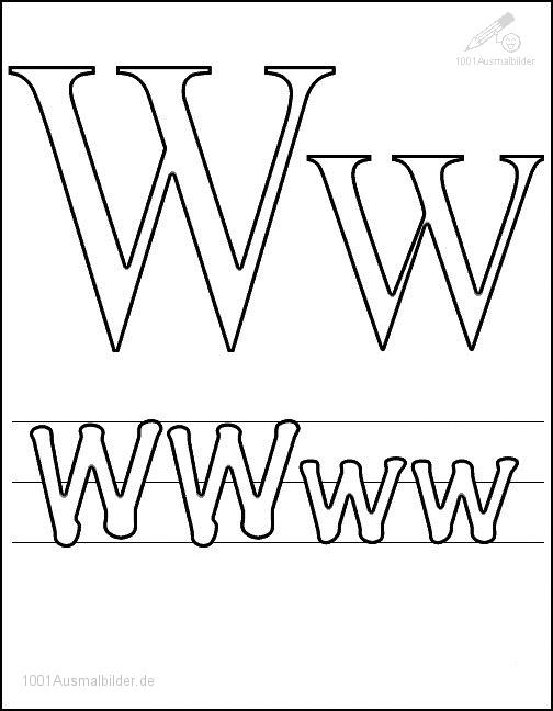 Malvorlage Schriftzeichen W
