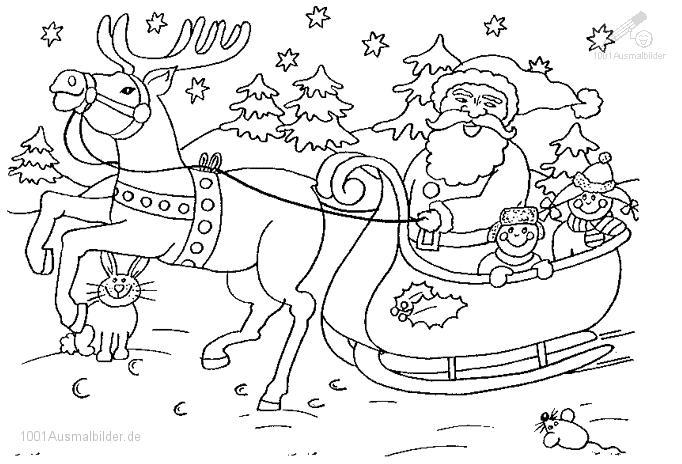 Malvorlage Weihnachts Schlitte