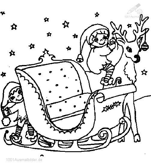 Malvorlage Weihnachts Schlitte Fahren