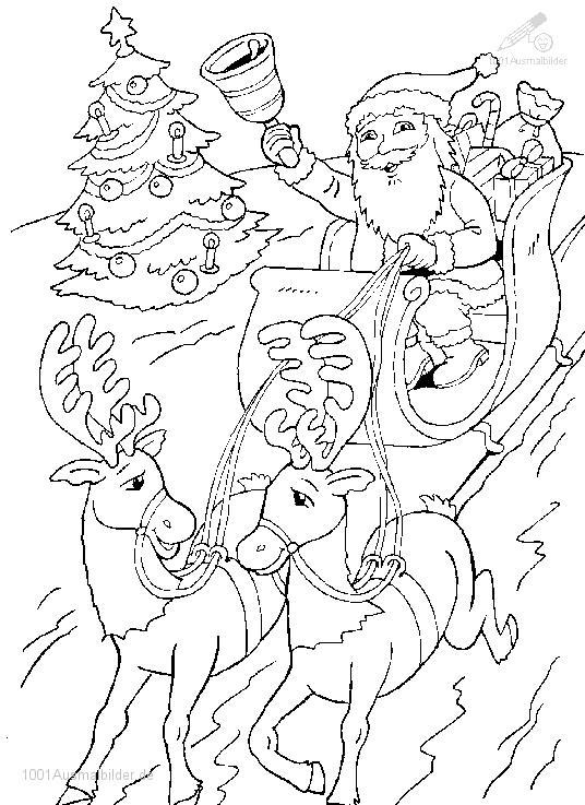 malvorlage: malvorlage-weihnachtsman-schlitten-7