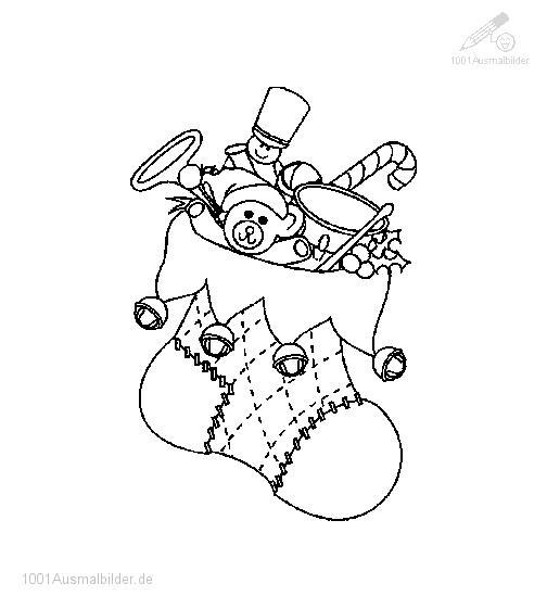 Malvorlage Weihnachtssocke